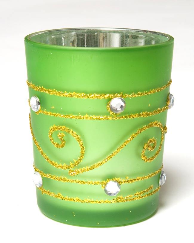 キラキラキャンドルグラス【高さ:6.5cm*横:5.5cm】-グリーンの写真