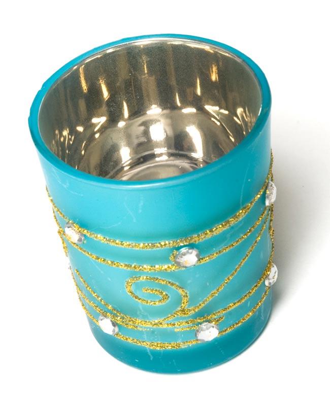 キラキラキャンドルグラス【高さ:6.5cm*横:5.5cm】-ブルーの写真2 - 斜めから撮ってみました。