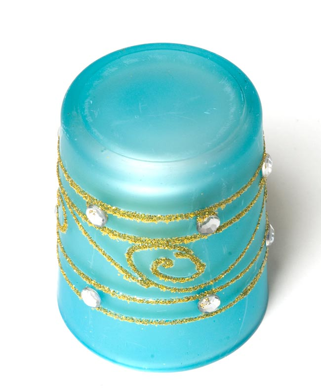 キラキラキャンドルグラス【高さ:6.5cm*横:5.5cm】-ブルーの写真3 - 裏側はこんな感じです。