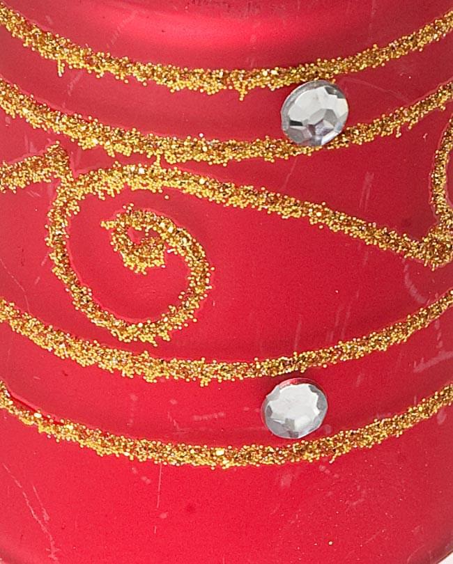 キラキラキャンドルグラス【高さ:6.5cm*横:5.5cm】-レッドの写真4 - アップにして撮ってみました。