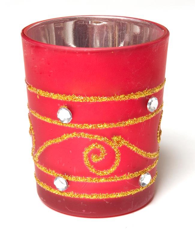 キラキラキャンドルグラス【高さ:6.5cm*横:5.5cm】-レッドの写真