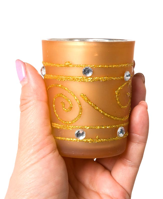 キラキラキャンドルグラス【高さ:6.5cm*横:5.5cm】-パープルの写真5 - 手にとって見るとこのくらいの大きさです。