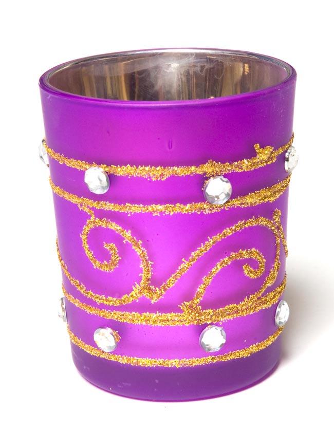 キラキラキャンドルグラス【高さ:6.5cm*横:5.5cm】-パープルの写真