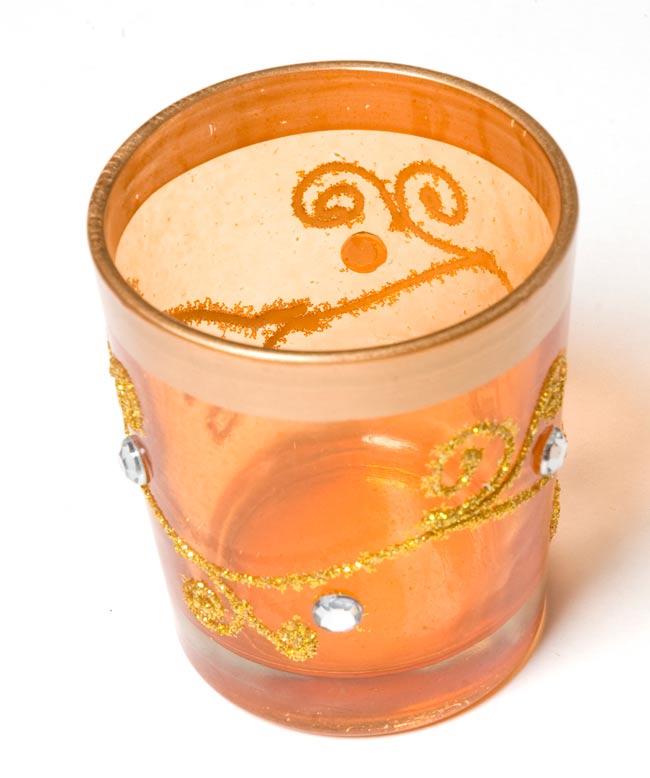 キラキラキャンドルグラス【高さ:6.5cm*横:5.5cm】-オレンジの写真2 - 斜めから撮ってみました。