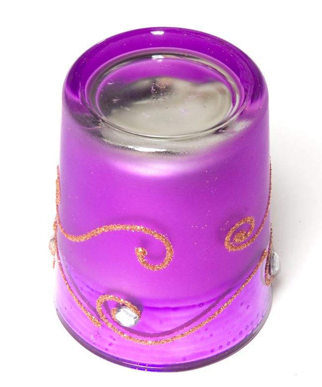 キラキラキャンドルグラス【高さ:6.5cm*横:5.5cm】-パープルの写真3 - 裏側はこんな感じです。