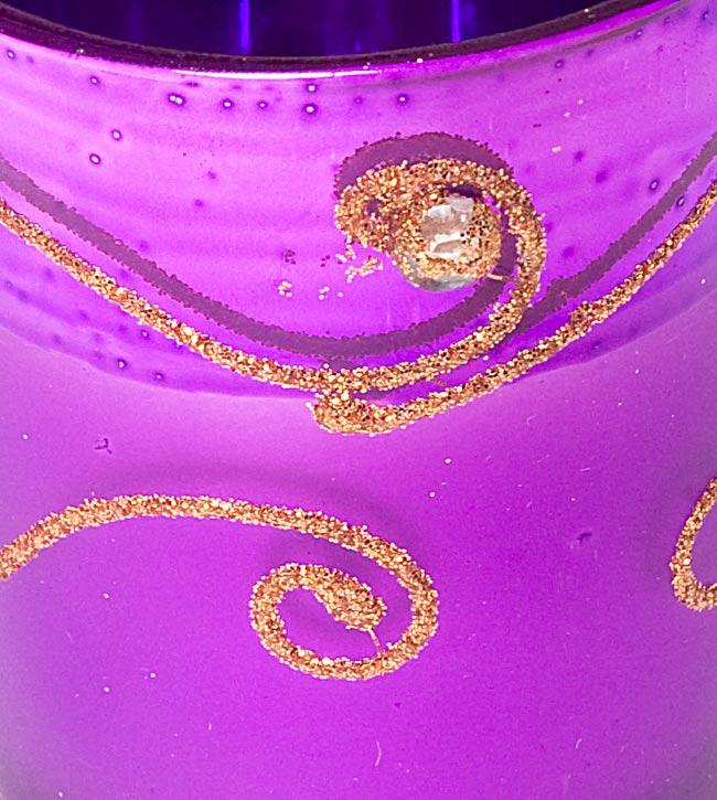 キラキラキャンドルグラス【高さ:6.5cm*横:5.5cm】-パープルの写真4 - アップにして撮ってみました。