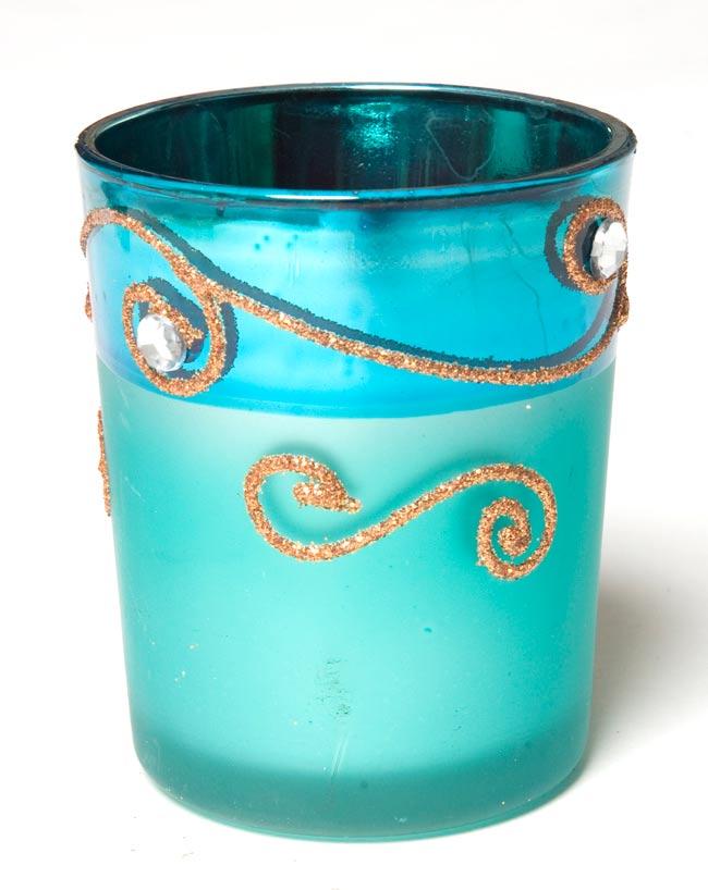 キラキラキャンドルグラス【高さ:6.5cm*横:5.5cm】-ブルーの写真