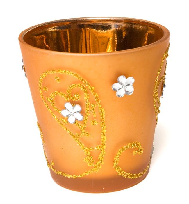 キラキラキャンドルグラス【高さ:6.5cm*横:5.5cm】-オレンジの写真