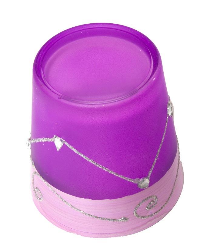 キラキラキャンドルグラス【高さ:7.5cm*横:7.5cm】-パープルの写真3 - 裏側はこんな感じです。