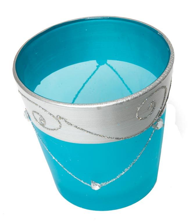 キラキラキャンドルグラス【高さ:7.5cm*横:7.5cm】-ブルーの写真2 - 斜めから撮ってみました。