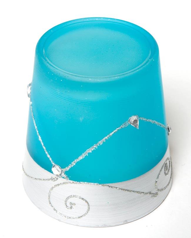 キラキラキャンドルグラス【高さ:7.5cm*横:7.5cm】-ブルーの写真3 - 裏側はこんな感じです。