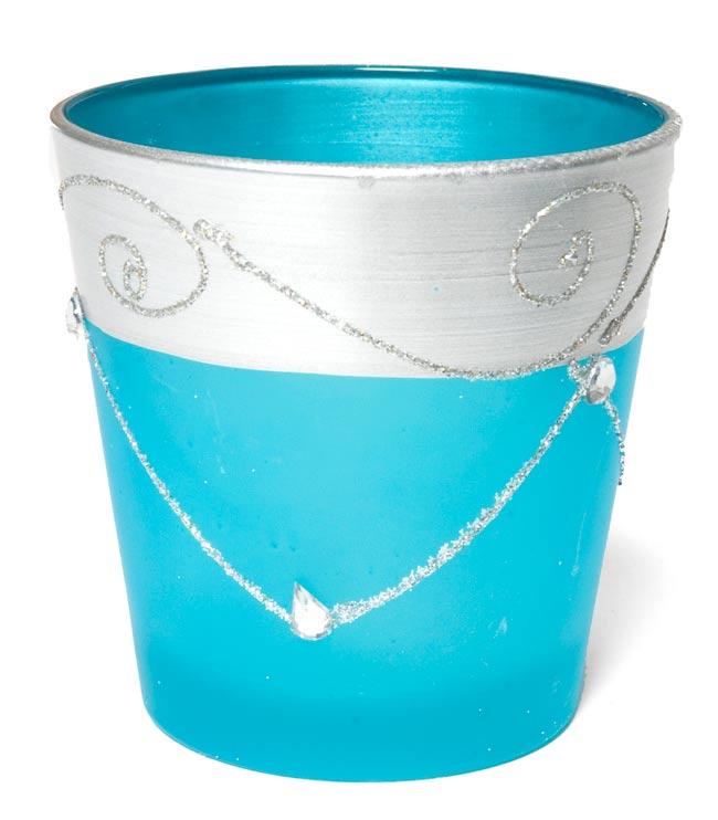 キラキラキャンドルグラス【高さ:7.5cm*横:7.5cm】-ブルーの写真