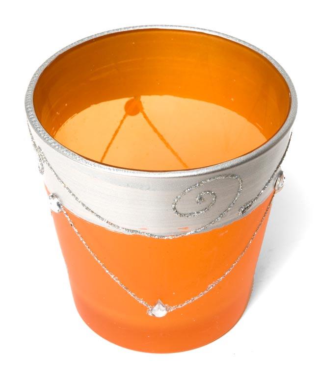 キラキラキャンドルグラス【高さ:7.5cm*横:7.5cm】-オレンジの写真2 - 斜めから撮ってみました。