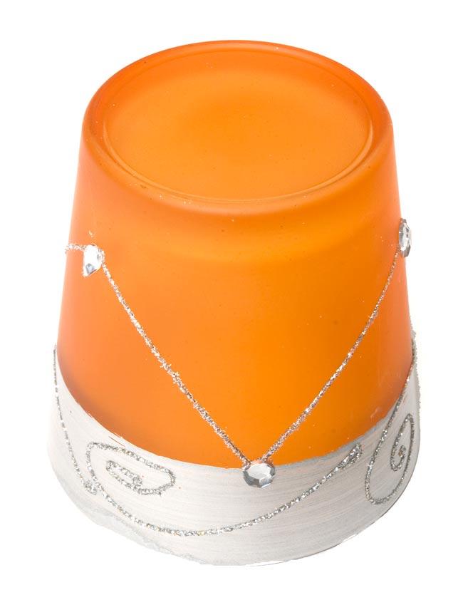 キラキラキャンドルグラス【高さ:7.5cm*横:7.5cm】-オレンジの写真3 - 裏側はこんな感じです。