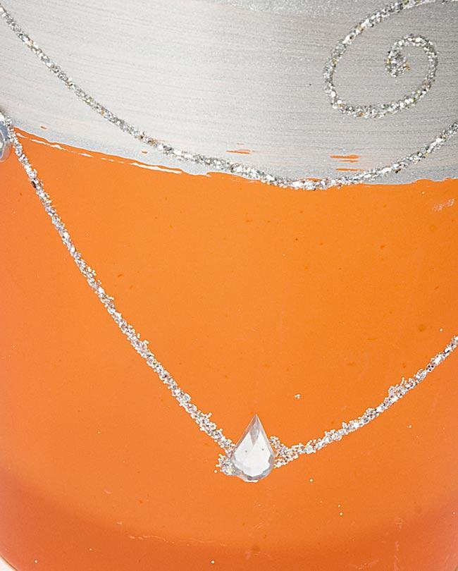 キラキラキャンドルグラス【高さ:7.5cm*横:7.5cm】-オレンジの写真4 - アップにして撮ってみました。