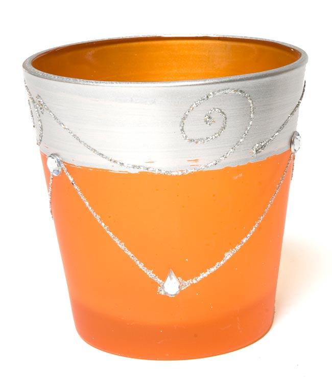 キラキラキャンドルグラス【高さ:7.5cm*横:7.5cm】-オレンジの写真