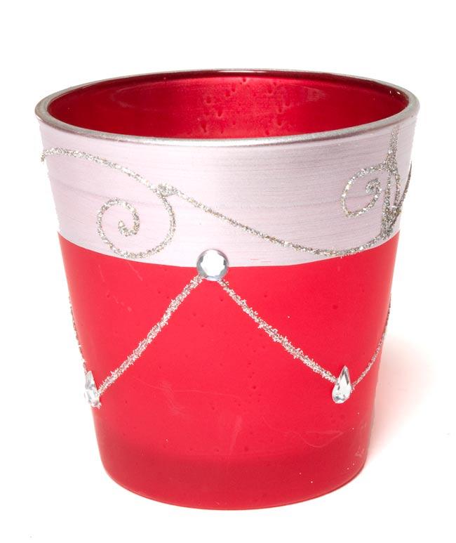 キラキラキャンドルグラス【高さ:7.5cm*横:7.5cm】−レッドの写真