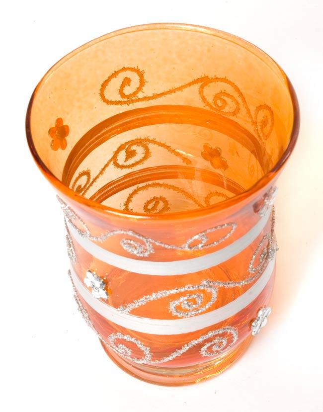 キラキラキャンドルグラス【高さ:9cm*横:7.5cm】-オレンジの写真2 - 斜めから撮ってみました。