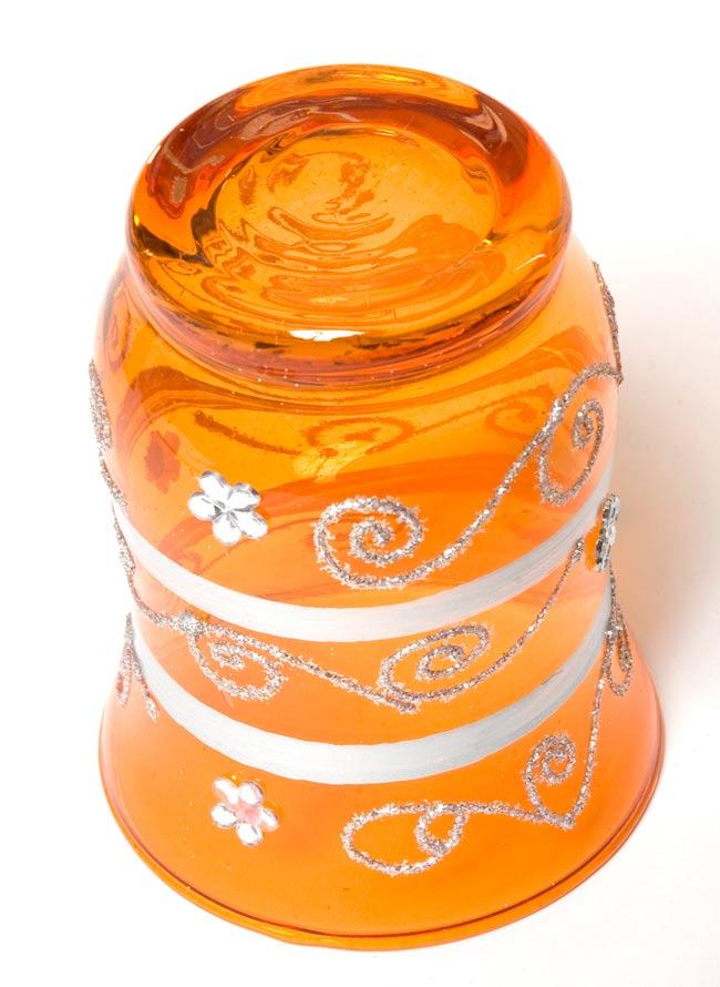 キラキラキャンドルグラス【高さ:9cm*横:7.5cm】-オレンジの写真3 - 裏側はこんな感じです。
