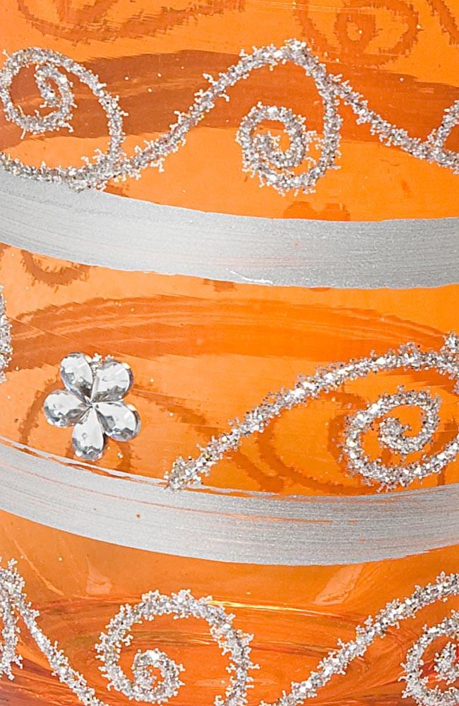 キラキラキャンドルグラス【高さ:9cm*横:7.5cm】-オレンジの写真4 - アップにして撮ってみました。