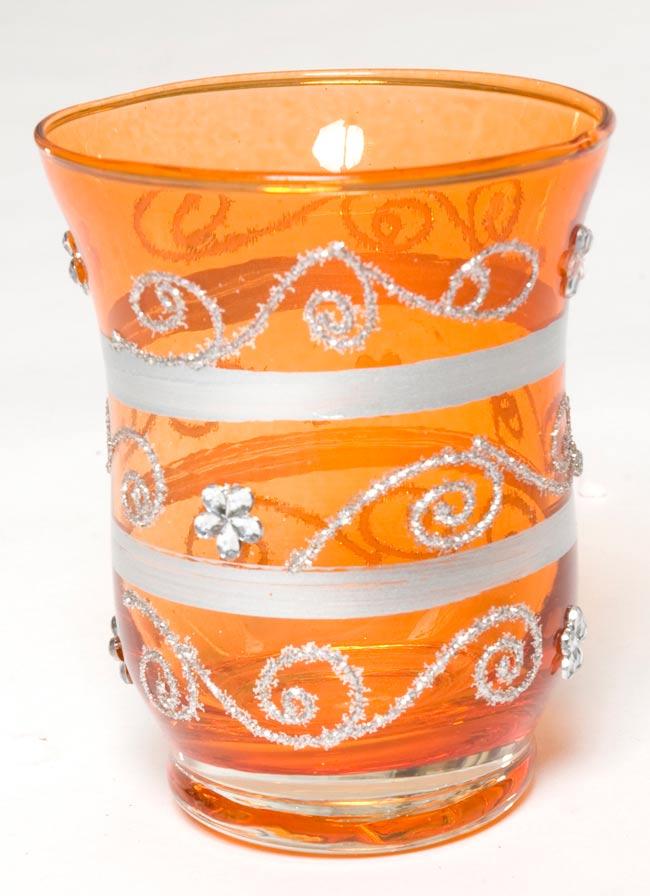 キラキラキャンドルグラス【高さ:9cm*横:7.5cm】-オレンジの写真
