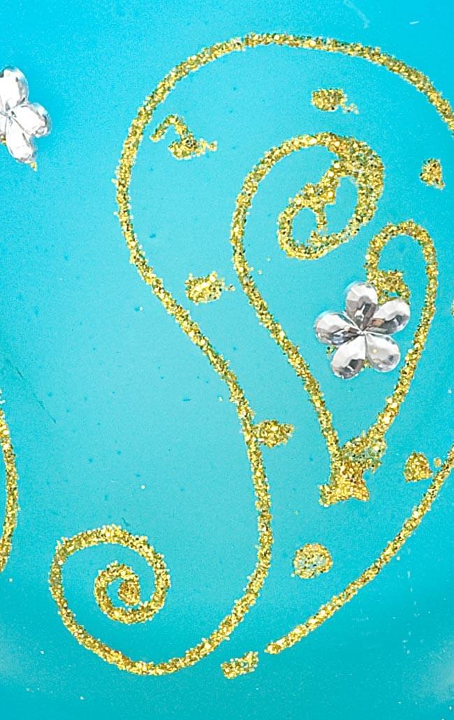 キラキラキャンドルグラス【高さ:9.5cm*横:7.5cm】-ブルーの写真4 - アップにして撮ってみました。