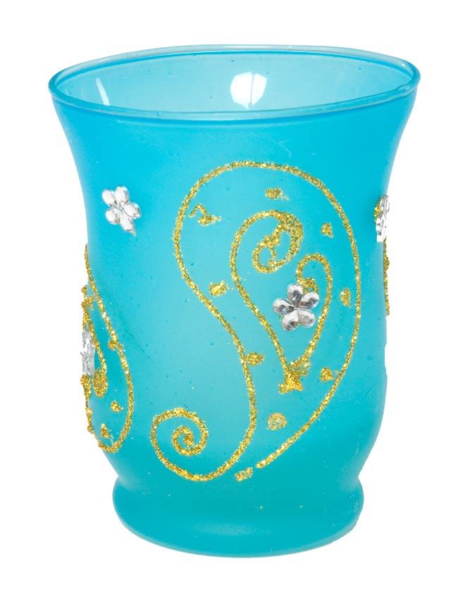 キラキラキャンドルグラス【高さ:9.5cm*横:7.5cm】-ブルーの写真