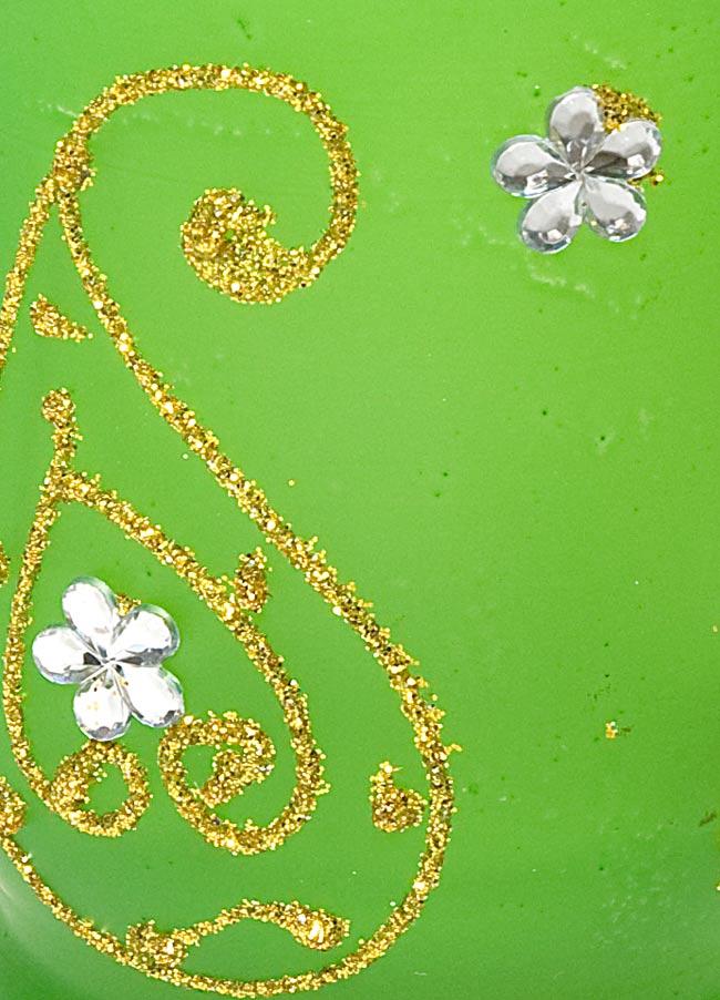 キラキラキャンドルグラス【高さ:9.5cm*横:7.5cm】-グリーンの写真4 - アップにして撮ってみました。