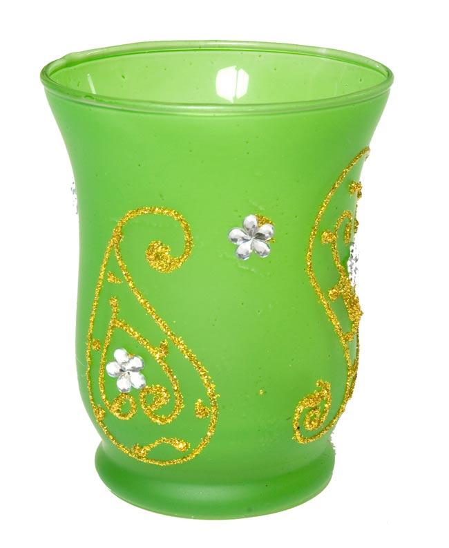 キラキラキャンドルグラス【高さ:9.5cm*横:7.5cm】-グリーンの写真