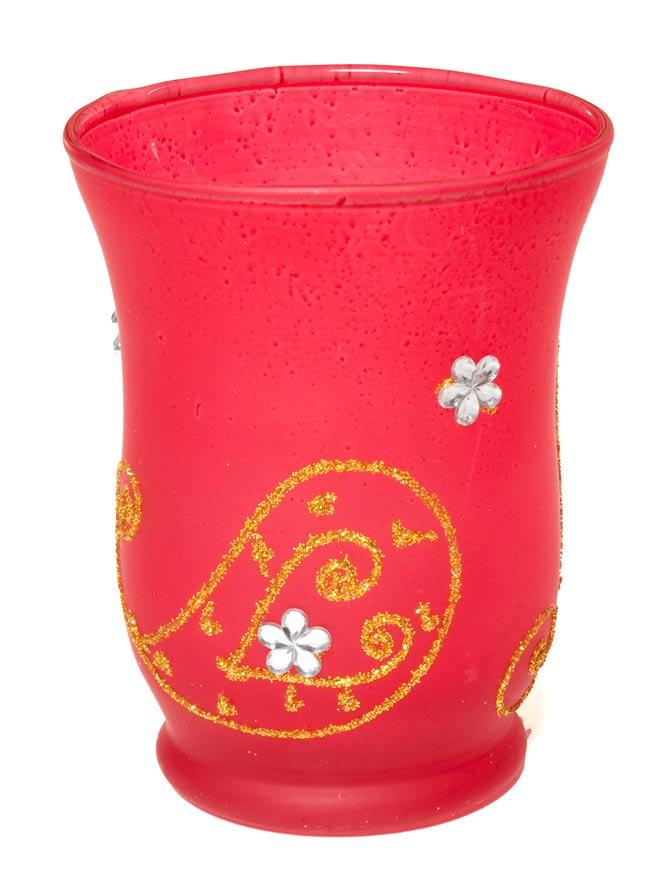 キラキラキャンドルグラス【高さ:9.5cm*横:7.5cm】-レッドの写真