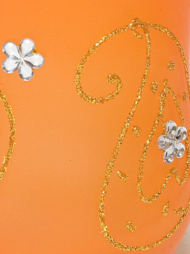 キラキラキャンドルグラス【高さ:9.5cm*横:7.5cm】-オレンジの写真4 - アップにして撮ってみました。