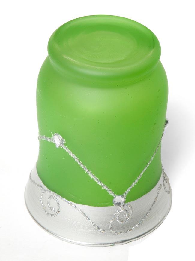 キラキラキャンドルグラス【高さ:9.5cm*横:7.5cm】-グリーンの写真3 - 裏側はこんな感じです。