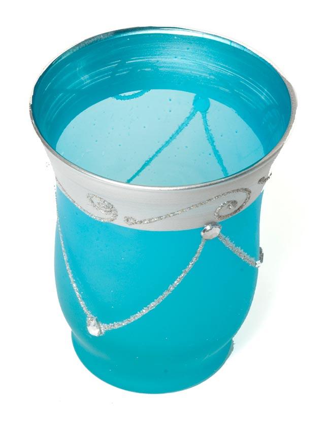 キラキラキャンドルグラス【高さ:9.5cm*横:7.5cm】-ブルーの写真2 - 斜めから撮ってみました。