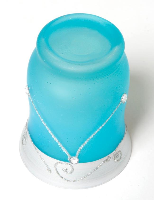 キラキラキャンドルグラス【高さ:9.5cm*横:7.5cm】-ブルーの写真3 - 裏側はこんな感じです。