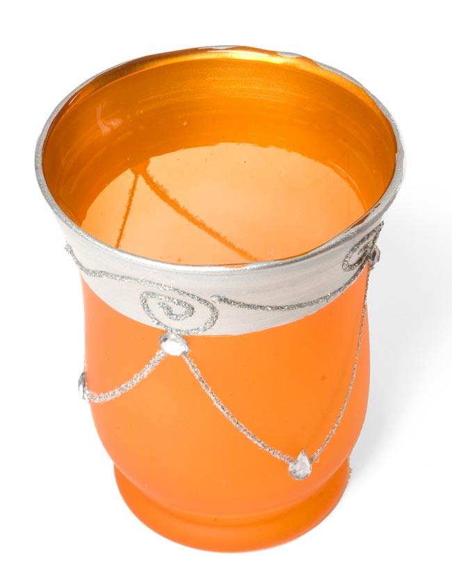 キラキラキャンドルグラス【高さ:9.5cm*横:7.5cm】-オレンジの写真2 - 斜めから撮ってみました。