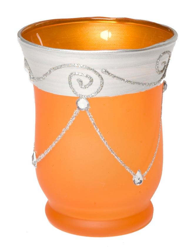 キラキラキャンドルグラス【高さ:9.5cm*横:7.5cm】-オレンジの写真
