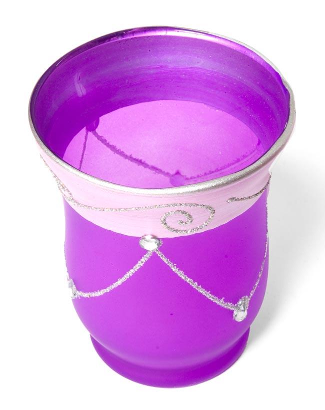 キラキラキャンドルグラス【高さ:9.5cm*横:7.5cm】-パープルの写真2 - 斜めから撮ってみました。