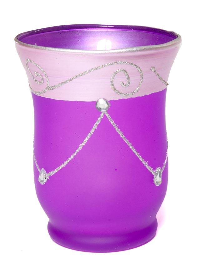 キラキラキャンドルグラス【高さ:9.5cm*横:7.5cm】-パープルの写真