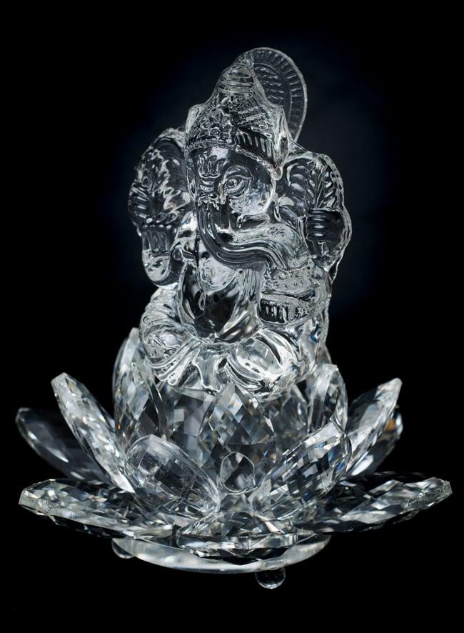 [訳アリ]蓮に坐るクリスタルガネーシャ[14cm]の写真2 - 全体写真です。