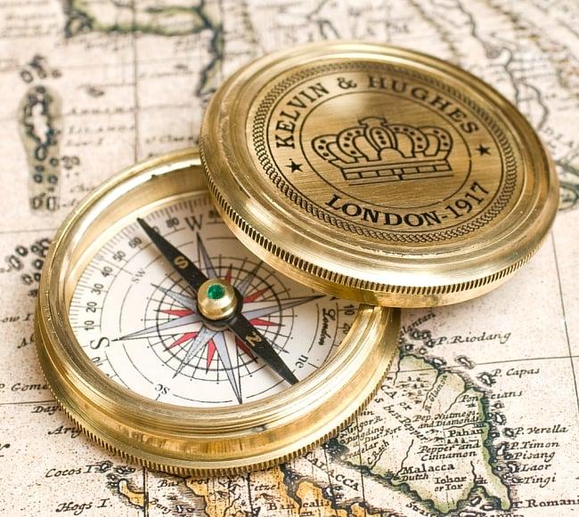 【直径約5.5cm】大英帝国時代のゴールドアンティークコンパス[蓋付き] - KELVIN & HUGHES 1