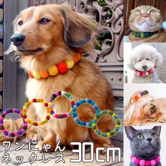 〔内周30cm〕★犬の首輪・猫首輪★手作りフェルト!ワンにゃんネックレス の写真