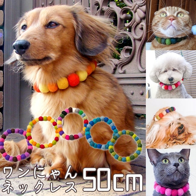 〔内周50cm〕★犬の首輪・猫首輪★手作りフェルト!ワンにゃんネックレス の写真
