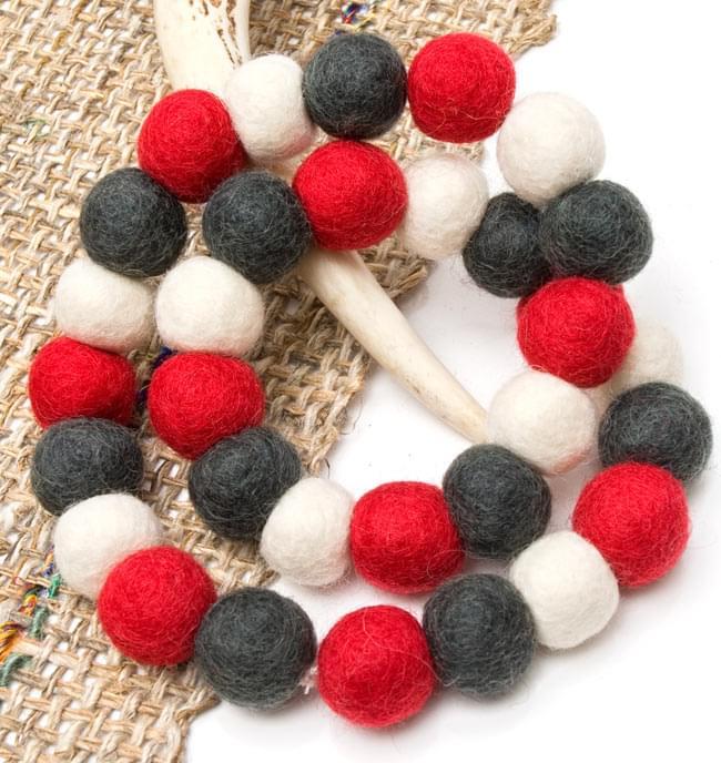 〔60cm〕★犬の首輪・猫首輪★手作りフェルト!ワンにゃんネックレス  - 白×赤×グレー系の写真