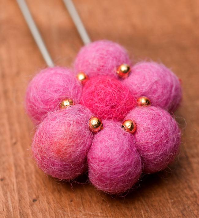 フェルトのお花ブローチ - ピンク 3 - お花部分をアップにしてみました。
