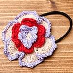 手作りコットンのお花ヘアゴム - ベージュ×赤×薄紫