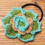 手作りコットンのお花ヘアゴム - 水色×緑×茶