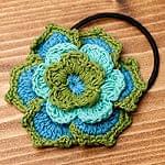 手作りコットンのお花ヘアゴム - 青×水色×緑