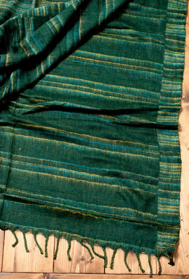 〔210cm×100cm〕インドのふわふわボーダー柄大判ショール - 濃緑系 5 - 裏面はこのようになっております