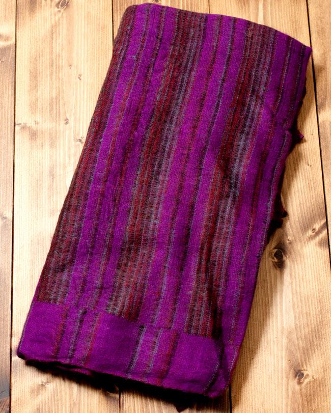 〔210cm×100cm〕インドのふわふわボーダー柄大判ショール - 紫×茶色系の写真