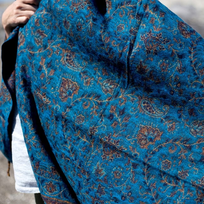〔210cm×95cm〕インドの伝統柄大判ストール・ショール - 水色系 10 - ペイズリーや唐草模様が素敵です